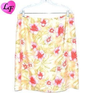 Wrap Skirt Silk with Floral Pattern Pink Yellow XL